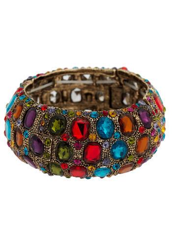 Arabian Bazaar Bracelet - Multi, Gold, Red, Orange, Yellow, Green, Blue, Purple, Rhinestones, Party, Casual, Boho, Statement