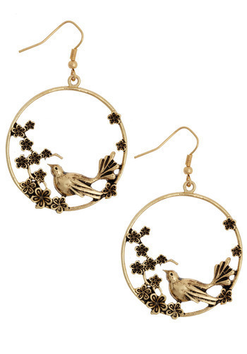 Natural Utopia Earrings - Gold, Flower, Party, Casual, Exclusives