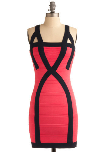 Edgy Essential Dress - Pink, Black, Party, Sheath / Shift, Sleeveless, Spaghetti Straps, Tank top (2 thick straps), Show On Featured Sale, Short