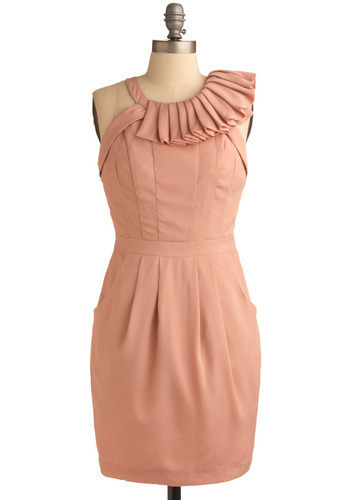 Love Is the Answer Dress - Pink, Solid, Pleats, Formal, Wedding, Party, Sheath / Shift, Sleeveless, Racerback, Mid-length