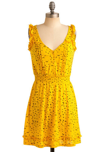 Wing Along Dress - Yellow, Black, Print with Animals, Novelty Print, Buttons, Pleats, Ruffles, Casual, A-line, Sleeveless, Tank top (2 thick straps), Spring, Summer, Short