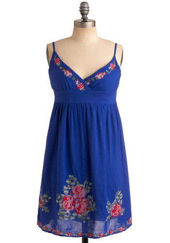 Feeling Crafty Dress - Blue, Red, Green, Solid, Floral, Embroidery, Trim, Casual, A-line, Empire, Spaghetti Straps, Spring, Summer, Short