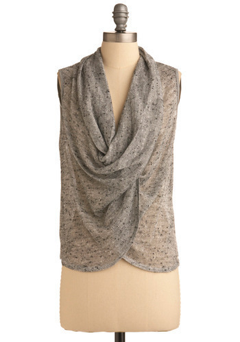Under Wraps Top - Grey, Casual, Sleeveless, Spring, Summer, Mid-length