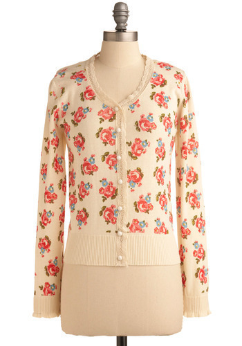 Professional Charm Cardigan - Cream, Multi, Green, Blue, Pink, Floral, Buttons, Lace, Trim, Work, Casual, Long Sleeve, Spring, Fall