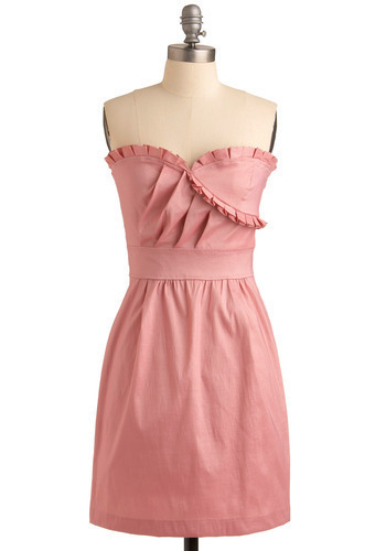 Oh, You Pretty Thing Dress - Pink, Solid, Pleats, Ruffles, Wedding, Party, Sheath / Shift, Strapless, Mid-length