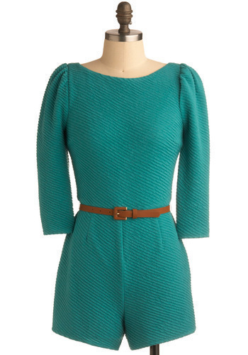 Teal a Second Glance Romper - Green, Solid, Buckles, Casual, 3/4 Sleeve, Spring, Summer, 80s, Long