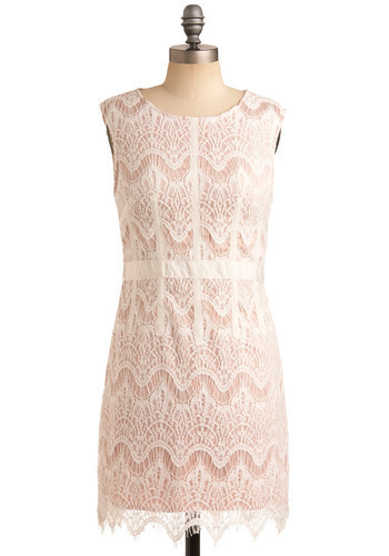 Sincerely Sweet Dress - Pink, White, Lace, Party, Casual, Sheath / Shift, Sleeveless, Spring, Summer, Short