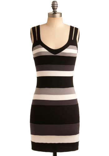 Good Medicine Dress - Black, Multi, Grey, White, Stripes, Casual, Shift, Sleeveless, Spaghetti Straps, Tank top (2 thick straps), Short