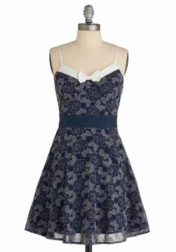 Dainty Doodler Dress | Mod Retro Vintage Printed Dresses | ModCloth.com :  embroidery day dress ribbon roses