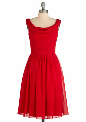 Red-y to Dance Dress - Red, Solid, Special Occasion, Wedding, Party, Vintage Inspired, A-line, Sleeveless, Tank top (2 thick straps), Spring, Summer, Prom, Long