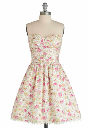 Patio Party Dress | Mod Retro Vintage Printed Dresses | ModCloth.com :  pink party frock sweetheart bodice white and floral