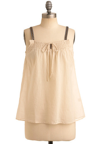 Lawn Seats Tank - Cream, Buttons, Embroidery, Casual, Boho, Spaghetti Straps, Spring, Summer, Mid-length