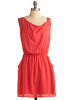 Coral History Dress - Pink, Solid, Party, Casual, Sheath / Shift, Sleeveless, Spring, Summer, Short