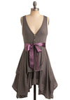 Craft Party Dress in Dark Grey - Grey, Purple, Solid, Buttons, Casual, A-line, Sleeveless, Tank top (2 thick straps), Summer, Bows, Tiered, Mid-length