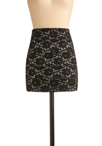Shade of Bloom Skirt - Black, Floral, Lace, Casual, Mini, Spring, Summer, Short, White