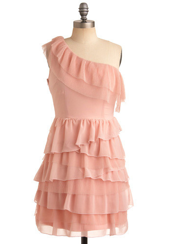 Strawberry Souffle Dress - Pink, Solid, Ruffles, Tiered, Party, A-line, One Shoulder, Mid-length