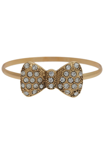 Dare to Dazzle Bracelet - Gold, Bows, Rhinestones, Party, Work, Casual