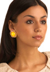 Flowering Sun Earrings - Yellow, Green, Gold, Pearls, Casual