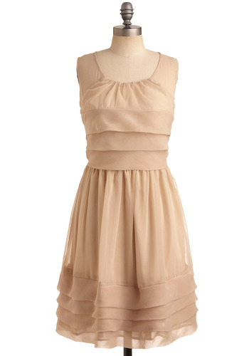 Love of Language Dress - Cream, Solid, Pleats, Formal, Wedding, Party, A-line, Sleeveless, Mid-length