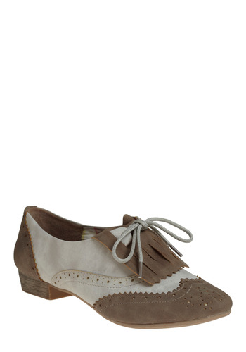 Ferry Commute Shoe - Brown, Fringed, Casual, Vintage Inspired, Grey