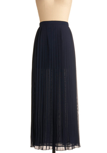 Maxi-mum Effect Skirt - Blue, Solid, Pleats, Casual, Urban, Maxi, Spring, Summer, Fall, Long
