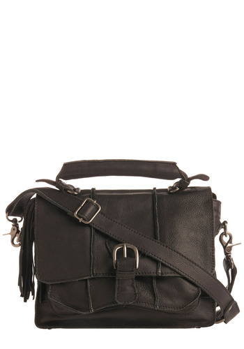 Sold-Out Show Satchel - Black, Solid, Buckles, Exposed zipper, Pockets, Tassels, Work, Casual