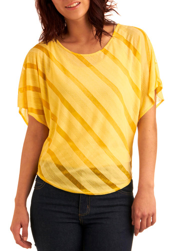 Layered Lemon Pie Top - Yellow, Stripes, Casual, Short Sleeves, Spring, Summer, Mid-length