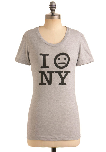 New York's All Right Tee - Grey, Black, Print, Casual, Short Sleeves, Spring, Summer, Mid-length, Crew