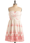 Cake Artist Dress - White, Red, Floral, Casual, Empire, Strapless, Spring, Summer, Mid-length