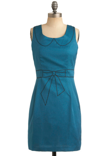 Drawing Conclusions Dress in Azure - Blue, Black, Solid, Bows, Embroidery, Party, Work, Casual, Sheath / Shift, Sleeveless, Mid-length