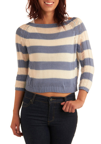Doing Knit Well Sweater - Blue, White, Stripes, Knitted, Casual, 3/4 Sleeve, Spring, Summer, Fall, Short