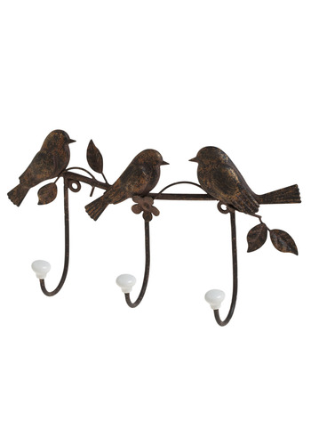 Tree Little Birdies Wall Hook - Bronze, Dorm Decor, Good, Folk Art, Hostess, Bird, Woodland Creature, Rustic