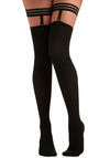 Suspended Style Thigh Highs - Black, Party, Work, Casual, Vintage Inspired, 20s, 30s, 40s, Rockabilly, Pinup