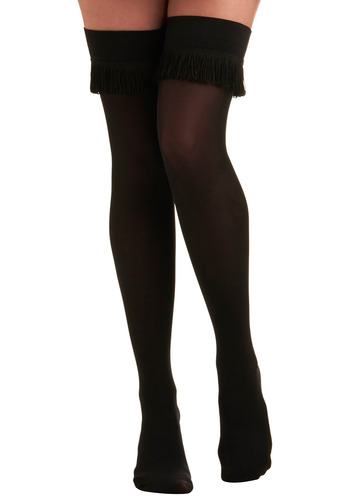 Fringe for Life Thigh Highs by House of Holland - Black, Solid, Fringed, Party, Casual