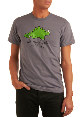 Cry-ceratops Tee in Grey - Grey, Green, Novelty Print, Casual, Short Sleeves, Long, Cotton, Scholastic/Collegiate, Quirky, Jersey