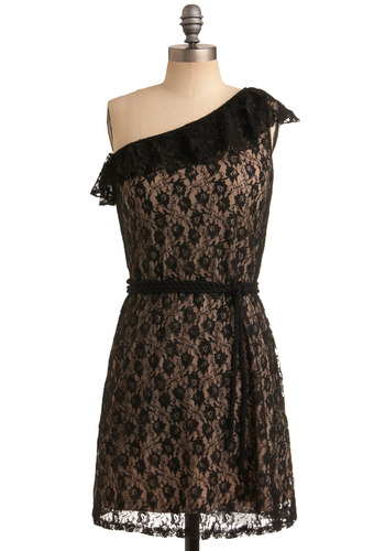 Rope You In Dress - Black, Tan / Cream, Floral, Lace, Ruffles, Party, Luxe, A-line, One Shoulder, Short