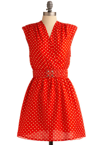 Cheery Deary Dress - Red, Tan / Cream, Polka Dots, Studs, Casual, Vintage Inspired, A-line, Cap Sleeves, 80s, Mid-length