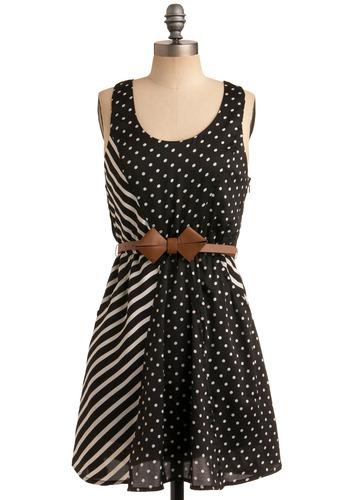Bow Crazy for Prints Dress - Black, White, Polka Dots, Stripes, Casual, A-line, Tank top (2 thick straps), Racerback, Mid-length