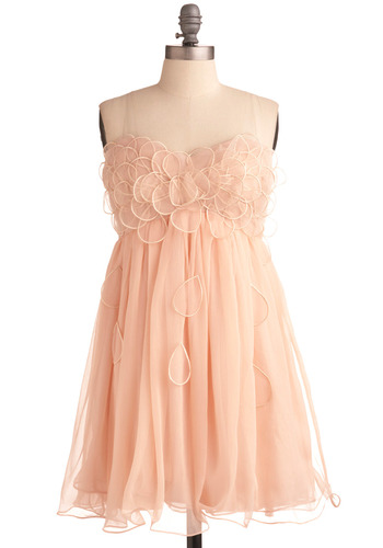 Raining Petals Dress - Pink, Solid, Flower, Ruffles, Formal, Wedding, Party, Empire, Spaghetti Straps, Spring, Summer, Short