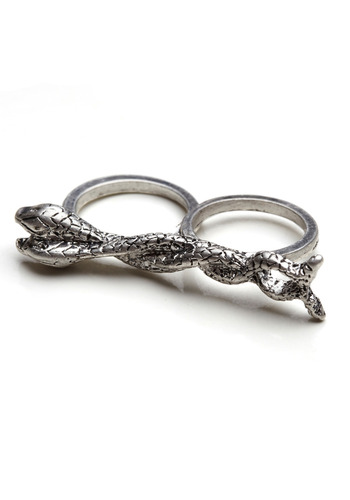 Fully Fine and Serpentine Double Ring - Silver, Party, Work, Casual