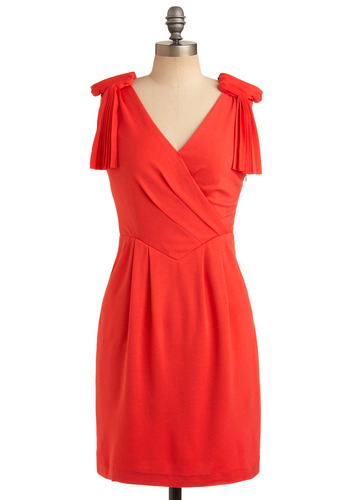 Cheeky in Coral Dress - Orange, Solid, Cutout, Pleats, Wedding, Party, Casual, Shift, Sleeveless, Spring, Summer, Mid-length, Press Placement