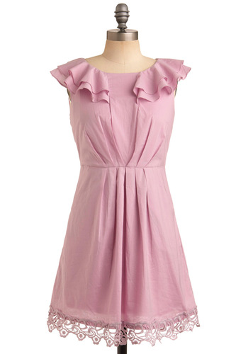 Lavender Bubblegum Dress - Pink, Solid, Lace, Pleats, Pockets, Ruffles, Trim, Casual, A-line, Sleeveless, Spring, Summer, Mid-length