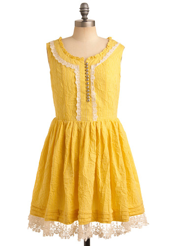 Sunny Day's Best Dress by Nick & Mo - Yellow, White, Silver, Stripes, Buttons, Lace, Pleats, Trim, Casual, Spring, Summer, Mid-length