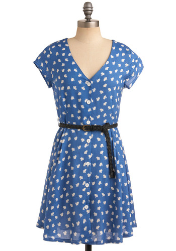 Hoppy Together Dress - Blue, Black, White, Print with Animals, Novelty Print, Braided, Buckles, Buttons, Casual, A-line, Short Sleeves, Spring, Summer, Mid-length