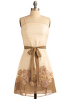 Dainty Rhymes Dress - Cream, Floral, Bows, Embroidery, Party, Casual, A-line, Spaghetti Straps, Spring, Summer, Yellow, Blue, Pink, Tan / Cream, Wedding, Short