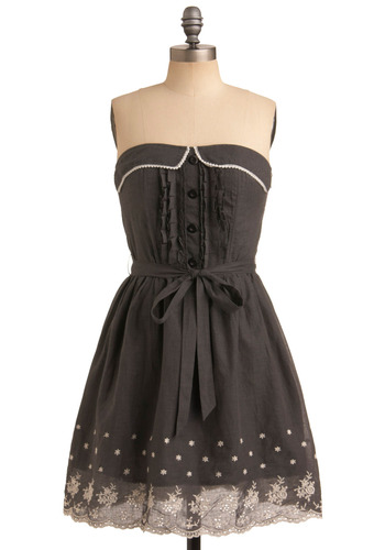 Outdoor Potluck Dress - Grey, White, Floral, Bows, Embroidery, Eyelet, Pleats, Casual, A-line, Strapless, Spring, Summer, Mid-length