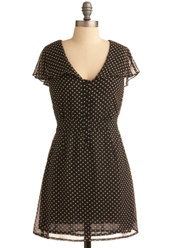 Twirling Tenderly Dress - Black, Tan / Cream, Polka Dots, Buttons, Casual, A-line, Short Sleeves, Short