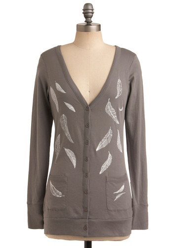 Nom De Plumage Cardigan - Grey, White, Buttons, Pockets, Work, Casual, Long Sleeve, Spring, Fall, Winter, Print, Mid-length