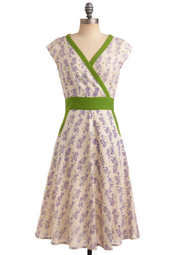 An Enchanted Evening Dress in Lavender by Mata Traders - Cream, Green, Purple, Floral, Casual, A-line, Cap Sleeves, Spring, Long, Eco-Friendly, Cotton, V Neck, Summer, Variation