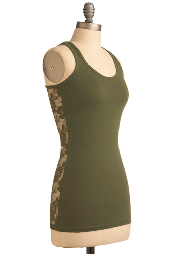 Bring Lacy Back Tank in Olive - Green, Solid, Lace, Casual, Racerback, Mid-length